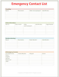 emergency contact template employee emergency contact list template