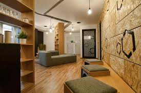 office wall design. Modern Office With Wooden Wall Design