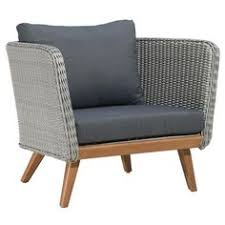 gali modern clic grey upholstered faux wicker outdoor arm chair