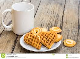 Cookie Coffee Cups Waffles Heart Shaped And Cookie On White Plate And Coffee Cup
