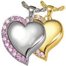 cremation jewelry shine heart pink stones pendant 3806 pink