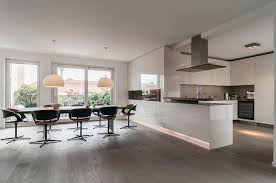 Modern Open Kitchen Design with White Gloss Cabinet Kitchen and Led  Lighting Ideas