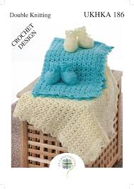 Details About Ukhka 186 Baby Double Knit Crochet Pattern For Zig Zag Edge Blanket Bootees