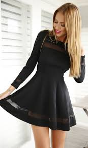 Black Mesh Panel Skater Dress Mesh Panel Black Mesh And Sleeved