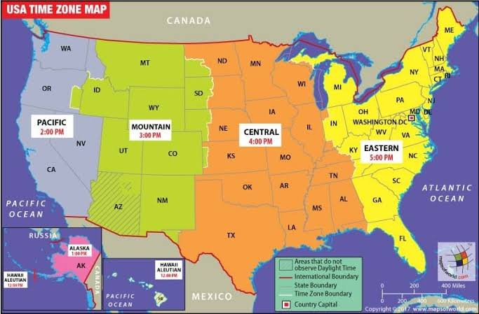Image result for us time zone map