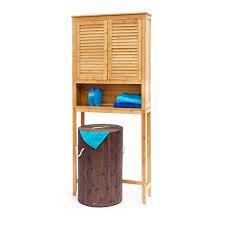 Waschmaschinenschrank Lamell Badezimmer Bambus Badschrank Hoher