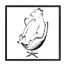 egg chair bear limited edition art print by flume design in beautiful frame framed on black and white bear wall art with egg chair bear wall art prints by flume design minted