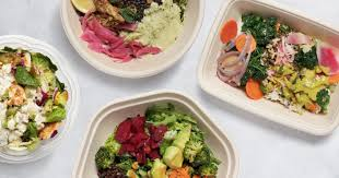 clockwise from left salad bowls from chop t cava beefsteak and sweetgreen deb lindsey for the washington post
