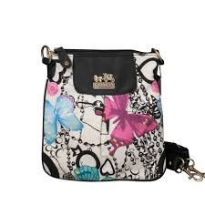 Coach Butterfly Poppy Small White Multi Crossbody Bags EPO