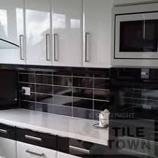 Lisso Brillo Black Kitchen Wall Tiles by CVA (tile factory) supplied by Tile  Town. Discounted Brick Effect Tiles