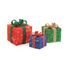 Lighted Stacked Christmas Gift Boxes Home Accents Holiday Pre Lit Gift Boxes Yard Decor Set Of 3