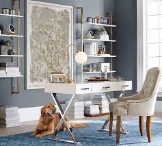 white desk home office. Pottery Barn AVA DESK WITH DRAWERS White Glam Desks Desk Home Office