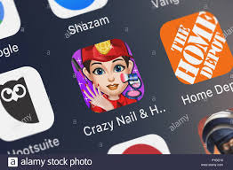 london united kingdom october 26 2018 close up shot of the crazy nail hair party salon s dressup makeup and spa makeover games 2 mobile
