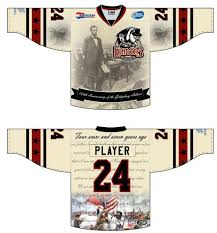the bakersfield condors of the echl will wear a sweater with images of the gettysburg address on saay because why not