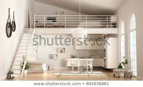 Living In One Room Minimalist Loft One Room Apartment With White Extraordinary 1 Bedroom Loft Minimalist Collection