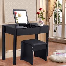 Makeup Table Black White Vanity Makeup Dressing Table Set With Cell Storage