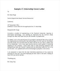 Example Cover Letters For Internships Marketing Internship Cover