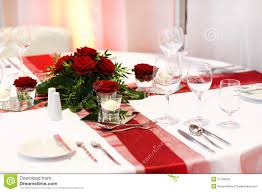 red and white table decorations. Elegant Table Set In Red And White For Wedding Or Event Decorations I