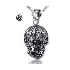 silver skull pendant black swarovski crystal eyes stainless steel necklace loading zoom