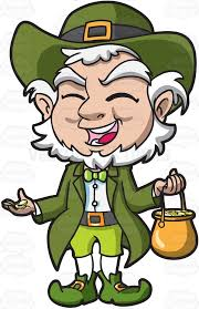 a charming old leprechaun with his pot of gold cartoon clipart    a charming old leprechaun   his pot of gold