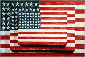 this is three flags by jasper johns painted in 1958 it is encaustic on canvas and can be seen in the whitney museum of american art in new york