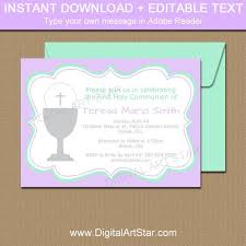 first communion invitation templates girls first communion invitation template mint lavender 1st etsy