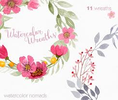 Floral Wreath Clipart Watercolor Clipart Wedding Clipart Flower