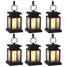 2018 6 pack solar power led hang light outdoor lantern candle effect night light for garden patio deck yard fence driveway lawn from sebastiani