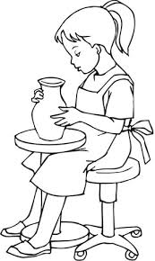 Small Picture A Little Girl Doing Pottery coloring page Free Printable