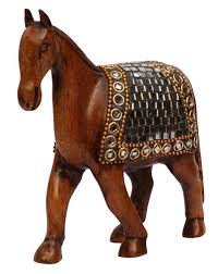 whole horse statue figurine bulk 4 wooden horse sculpture with mirror work decorative home decor statues gift sculptures