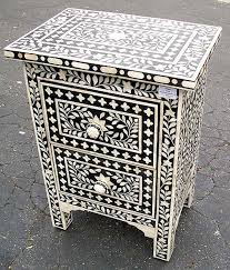 bone inlay nightstand. Plain Bone Bone Inlay Bedside Table On Nightstand