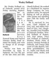 Obituary for Wesley Holland Holland, 1959-2012 (Aged 52) - Newspapers.com