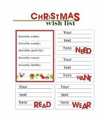 Christmas Card List Template Free Wish List Template Printable Shopping Gift Excel Christmas