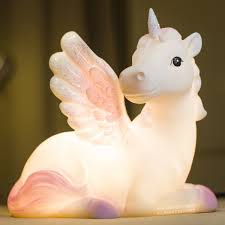 Pink And Purple Unicorn Led Nightlight Glow Lamp For Kids Rooms