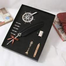 ihambing ang pinakabagong fountain pen 1 set of english calligraphy feathers pens wedding writing gifts office supplies creative stationery pen set