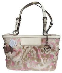 Coach Signature Leather Logo Monogram Designer Tote in Ivory, Pink   Khaki