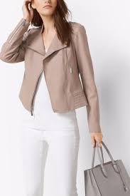 michael by michael kors leather moto jacket front cropped image
