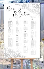Seating Chart In Alphabetical Order Wedding Seating Chart Poster Gianna Silver Print Ready Digital File