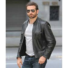 bradley cooper sports black leather biker jacket