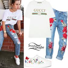 gucci outfits. gucci tee, embroidered jeans outfits