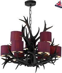 david hunt antler 9 light rustic black chandelier uk made