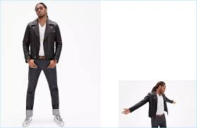 future sports a leather biker jacket white v neck and dark wash jeans