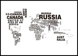 World Map Posters World Map Text Poster