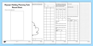 Itinerary Sheet Olympic Holiday Planning Task Record Sheet Plan Itinerary