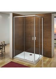 united corner entry shower enclosure cubicle with double sliding glass door square rectangle in silver