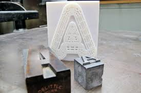 3d printed font designed by a2 and letter pressed by new north press