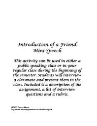 introduction of a friend mini speech good rubric for public  introduction of a friend mini speech good rubric for public speaking publicspeaking