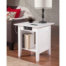nantucket end table with charger white atlantic mission work table