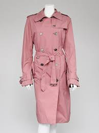 burberry london pink nylon belted trench coat size 16