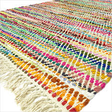 multicolor white chindi woven rag rug 3 x 5